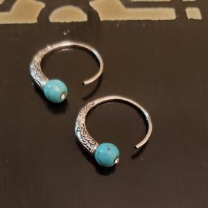 Beautiful Turquoise and stone hoops